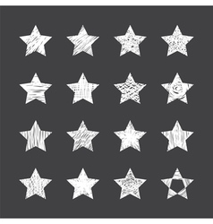 Set of hand drawn stars on black background vector image