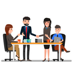 two business man and woman shaking hands with vector image vector image