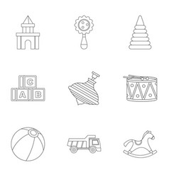 Variety of children toys icon set outline style vector