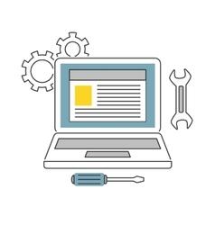 Web Development line icons flat vector image vector image