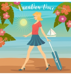 Woman on Vacation Girl with Baggage vector image vector image