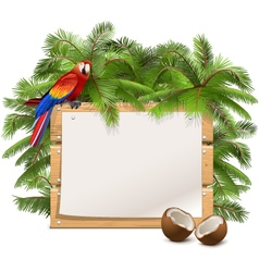 Wooden frame with palm tree vector
