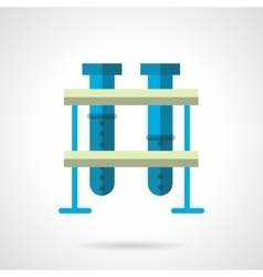 Blue test-tubes flat color style icon vector image