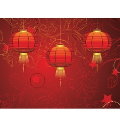 Chinese Lantern with Flowers2 vector image