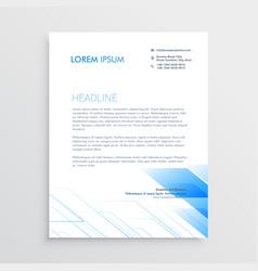 Clean minimal letterhead design with blue shape vector