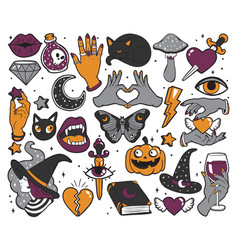 halloween set of patches in cartoon comic style vector image vector image