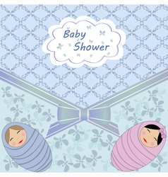 Blue baby shower with two child vector image vector image