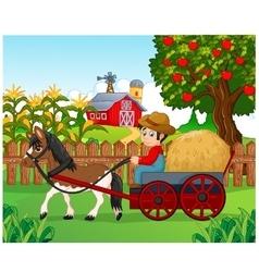Cartoon farmer with hay cart vector image