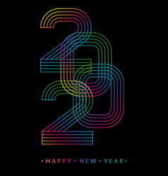 2020 happy new year numbers minimalist style vector