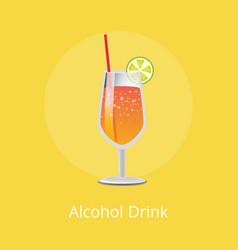 Alcohol drink refreshing summer lemonade vector