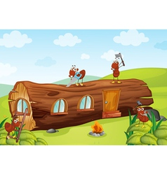 Ants and wooden house vector