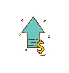arrow up high dollar icon design vector image