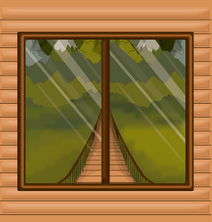 Background interior wooden cabin with suspension vector