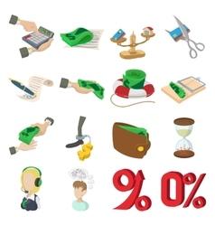 Bank icons set cartoon style vector image