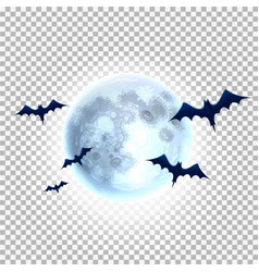 bat silhouette on moon for halloween party vector image