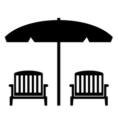 beach chairs with umbrella vector image