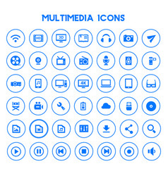 Big multimedia icon set trendy flat icons vector