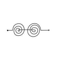 black double spiral arrow line with complicated vector image