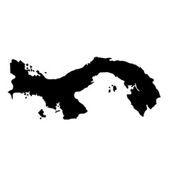 black silhouette country borders map of panama on vector image