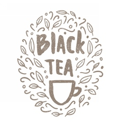 Black tea doodles vector image