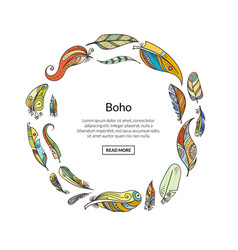 boho doodle feathers in circle with place vector image