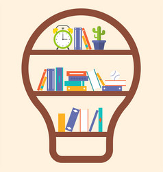 book shelf light bulb shape flat design vector image