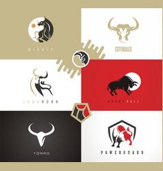 Bull emblems logos signs symbols vector