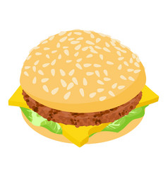 burger tasty icon isometric 3d style vector image