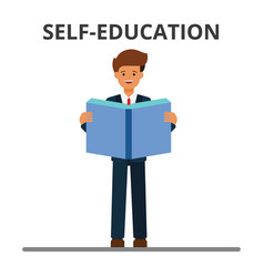 Business self-education man reading book vector