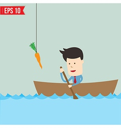 Cartoon business man rowing a boat try to reach vector