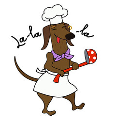 Cartoon dachshund chef with a ladle lalala vector