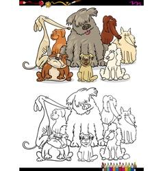 Cartoon dogs coloring page vector