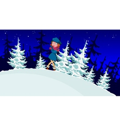 cartoon girl froze in the winter forest vector image