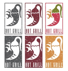 Chili pepper with fire grunge labels set vector