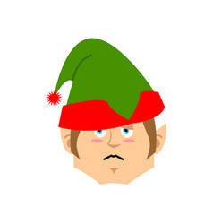 christmas elf sad emoji santa helper sorrowful vector image
