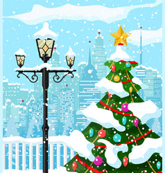 Christmas winter cityscape snowflakes and trees vector