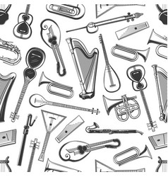 Classic folk music instruments seamless pattern vector