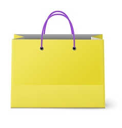 Classic shopping yellow bag with violet grips vector
