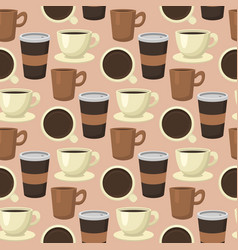 coffee cups seamless pattern background food drink vector image