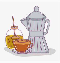 Coffee time sketch flat design vector