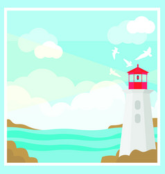 Colorful ocean landscape template vector