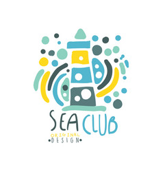 Colorful patterned sea club logo design template vector