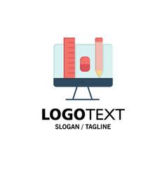 computer education scale pencil business logo vector image