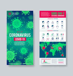coronavirus banner set with infographic elements vector image