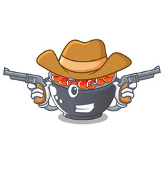 Cowboy roe salmon in a cartoon bowl vector