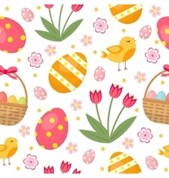 Cute Easter seamless pattern with eggs in basket vector