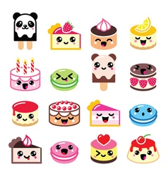 Cute Kawaii dessert - cake macaroon ice-cream ic vector image