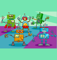 dancing robot characters group cartoon vector image