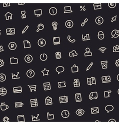 Dark Seamless Business Background with Line Icons vector image