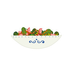 Delicious vegetarian salad with green leaves vector